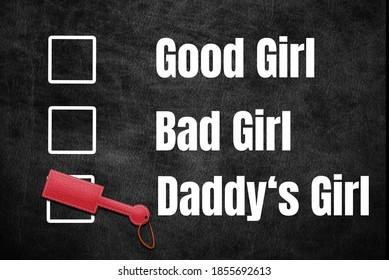 Kinky Good Girl Bad Girl Daddy's Girl check cross Paddle BDSM leather Naughty sex sexy