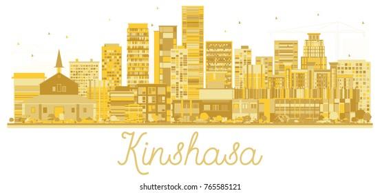 Kinshasa Congo City skyline golden silhouette. Business travel concept. Cityscape with landmarks.