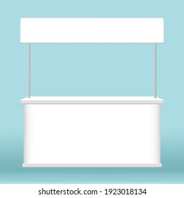 kiosk display, promotion counter stand show, counter stand for retail booth promo, kiosk advertising, counter stall for advertisement, 3D illustration