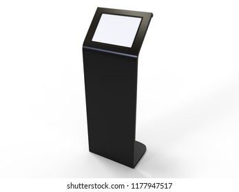 Kiosk Floor stand with digital screen for design presentation. 3d render illustration.