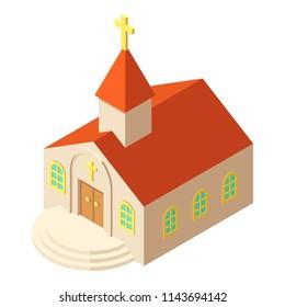 Kirche icon. Isometric illustration of kirche icon for web