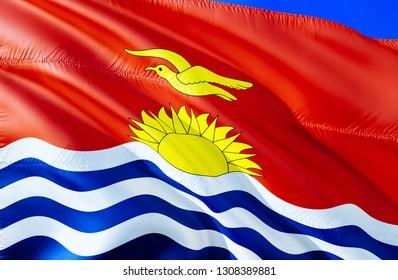 Kiribati flag. 3D Waving flag design. The national symbol of Kiribati, 3D rendering. National colors and National flag of Kiribati for a background. Oceania sign on smooth silk