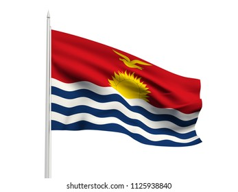 Kiribati flag floating in the wind with a White sky background. 3D illustration.