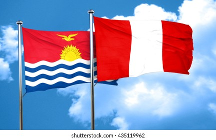 Kiribati flag with Peru flag, 3D rendering
