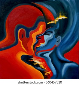 Kiss, abstract blue and red oil painting on canvas