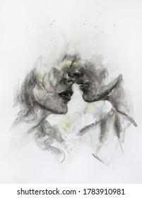 kiss. abstract illustration. watercolor painting