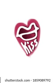 KISS - lettering for holiday cards, greeting poster, Valentine banner, wedding invitation. Phrase, short text in pink heart on white isolated background. A4 format card  with handwritten words.
