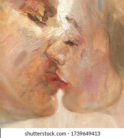 kiss. lovers. abstract oil painting
