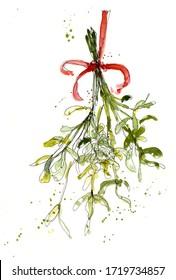 Kiss me under the mistletoe watercolor