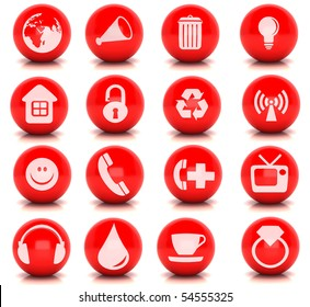 Kit of 16 web button based on a red render ball