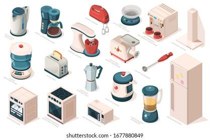 Kitchen appliance set, equipment, item for cooking. Kettle, coffee maker machine, mixer, meat grinder, hood, scales, blender, toaster, food dehydrator, fridge, multicooker, microwave, oven, dishwasher