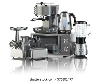 Kitchen appliances. Blender, toaster, coffee machine, meat ginder, microwave oven and kettle isolated on white. 3d
