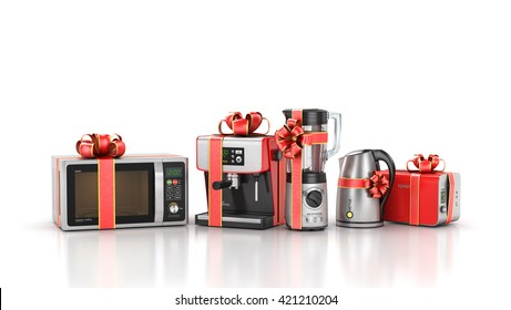 Kitchen appliances. Blender, toaster, coffee machine, kettle and microwave in gift ribbon. 3d illustration