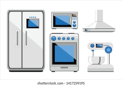 Kitchen appliances set. Creative concept. Modern flat design graphic elements. illustration