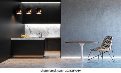 Kitchen black minimalistic interior with table chair lamp marble floor concrete wall. 3d render illustration mock up.