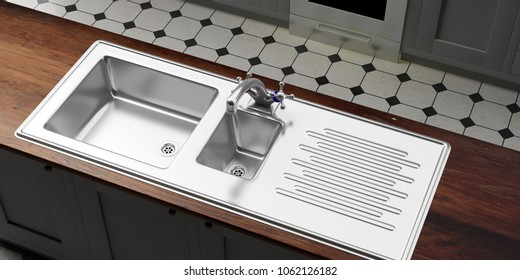 Kitchen cabinets with stainless steel sink and water tap, wooden counter, tiled floor, prespective view from above. 3d illustration