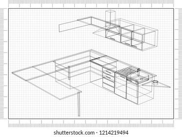 Blueprint Kitchen Images Stock Photos Vectors Shutterstock