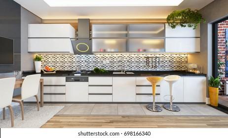 kitchen design white ceramic with fresh fruit and kitchen machines 3D rendering