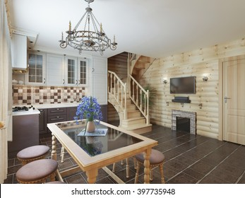 Kitchen dining area in a log interior staircase to the second floor and fireplace. 3D render.