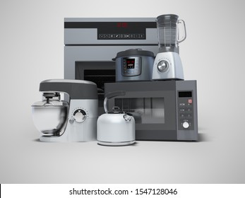 Kitchen electrical appliances built in a group 3d rendering on gray background with shadow