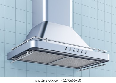 Kitchen exhaust hood in kitchen interior. 3D rendering