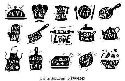 Kitchen food lettering. Gourmet cooking foods badge, chicken recipes cook and restaurant menu letterings. Chef apron stamp, food bistro chalk logo design.  illustration isolated icons set