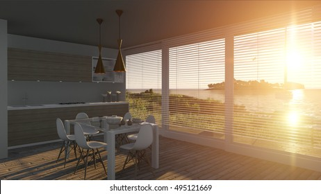 Kitchen with glass doors and sea landscape, 3D illustration