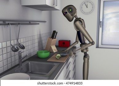 Kitchen help, a robot makes the food in the near future(3d rendering)