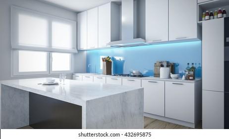 Imagenes Fotos De Stock Y Vectores Sobre Kitchen Interior Blue