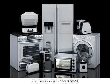 Kitchen and household appliances in silver color, 3D rendering isolated on black background