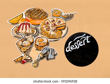 kitchen illustration of menu of desserts