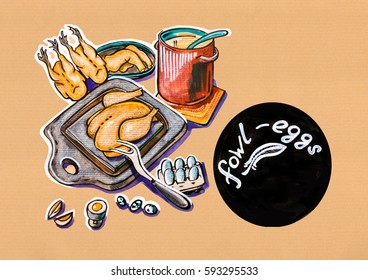 kitchen illustration of menu of fowl  products