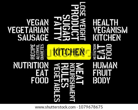 kitchen image words associated topic nutrition stock illustration