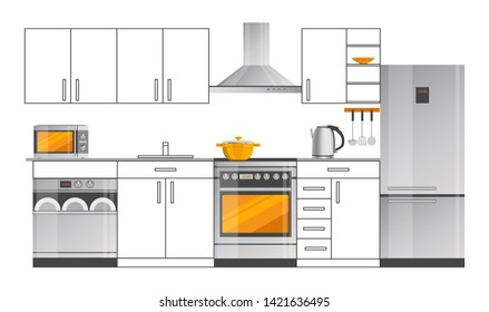 Kitchen interior design with appliances. big fridge modern oven convenient dishwasher compact microwave and electric teapot raster illustrations.