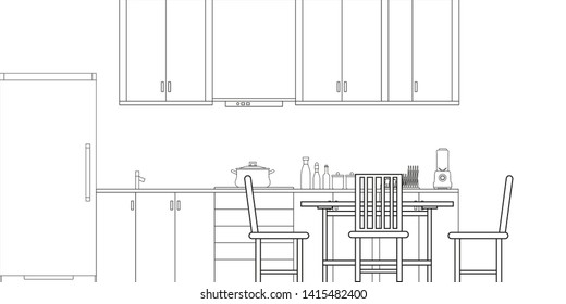 Kitchen Interior Design in Modern Style, Illustration