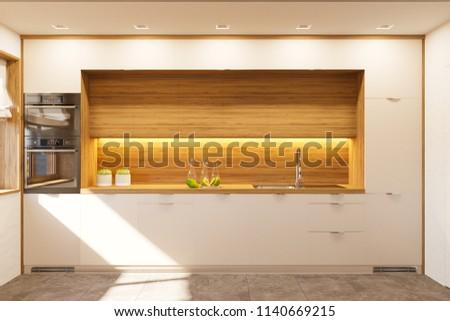 Kitchen Interior Design White Color Modern Stockillustration