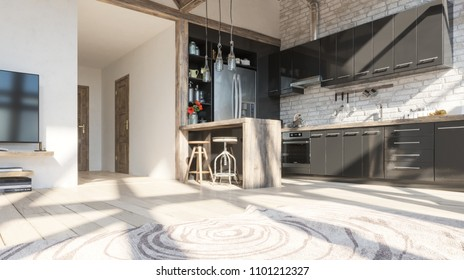 Kitchen interior in loft design. 3d Illustration.