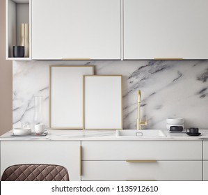 Kitchen interior wall mock up on gray background, 3D rendering, 3D illustration