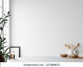 Kitchen interior wall mockup.  Wall art. 3d rendering, 3d illustration.