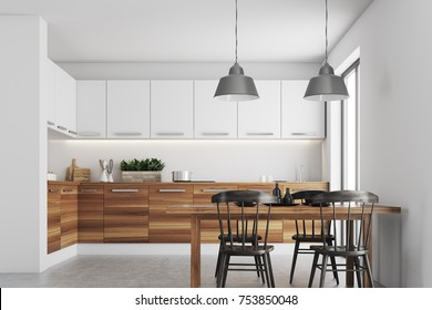 Kitchen interior with white walls, a concrete floor, wooden countertops, a table and chairs. 3d rendering mock up