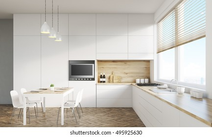 Kitchen interior with working surface, family dining table and counter. Concept of family gathering. 3d rendering. Mock up. Toned image