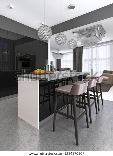 Magnificent Kitchen Island Three Bar Stools Round Royalty Free Stock Image Gamerscity Chair Design For Home Gamerscityorg
