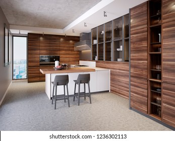 A kitchen with a kitchen island with two chairs in a modern kitchen, the style of contemporary and modern kitchen furniture. 3d rendering.