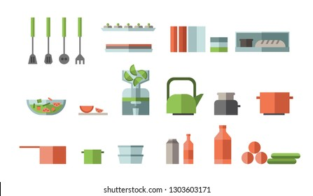 Kitchen items and tools flat icon collection. Utensil set. Colorful flat illustration. Isolated on white background. Raster version.