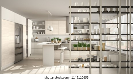 Kitchen living room shelving system foreground close-up, interior design concept, white modern room open plan in the background, 3d illustration
