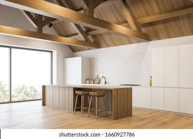 Kitchen in luxury mansion corner with wooden roof and floor, white countertops and cupboards, built in appliances and wooden bar with stools. 3d rendering