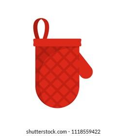 Kitchen mitten icon. Flat illustration of kitchen mitten icon for web