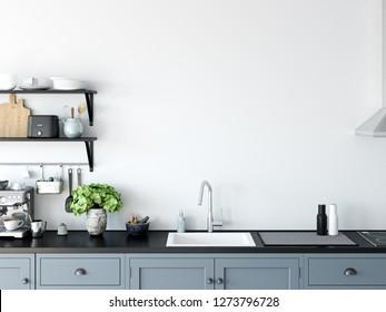 Kitchen mockup wall interior. Wall art. 3d rendering, 3d illustration
