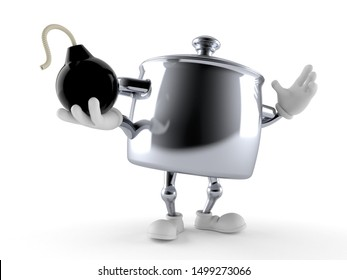 Kitchen pot character holding bomb isolated on white background. 3d illustration