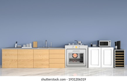 kitchen room modern style with blue background, 3d rendering